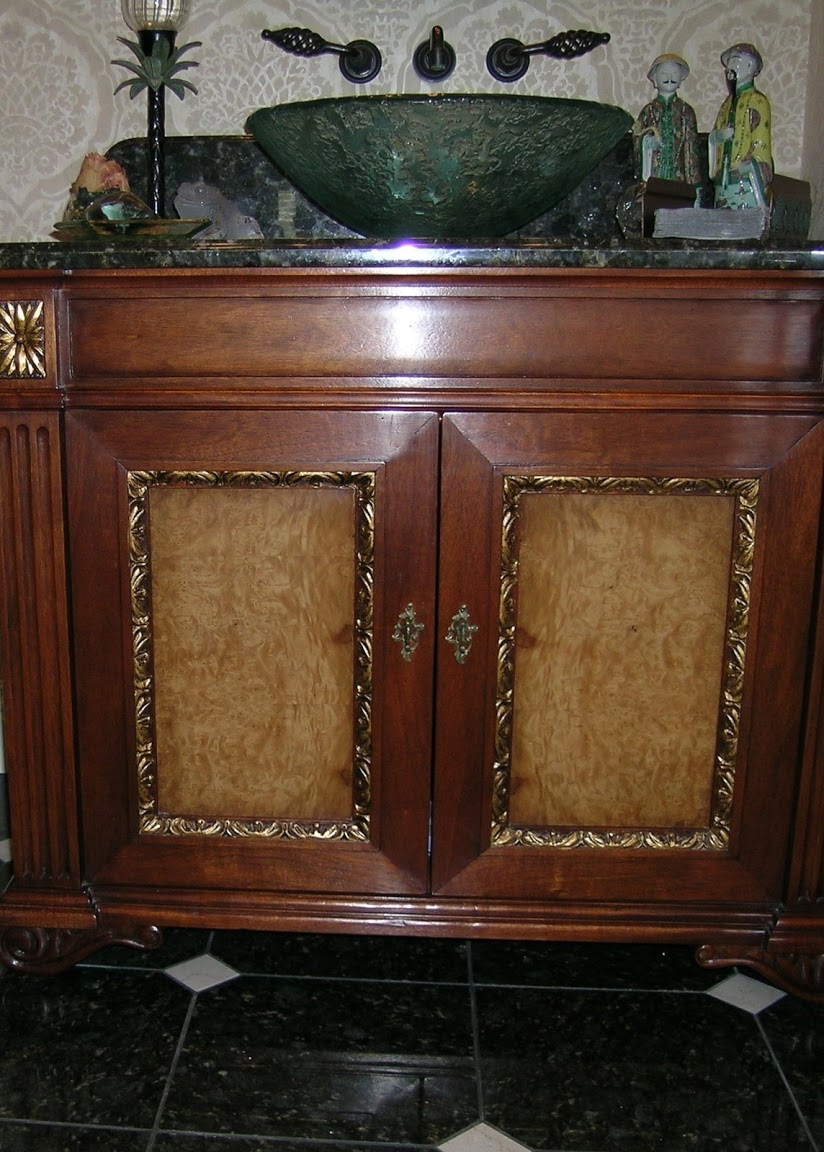 Custom Mahogany and Burl Bathroom Vanity