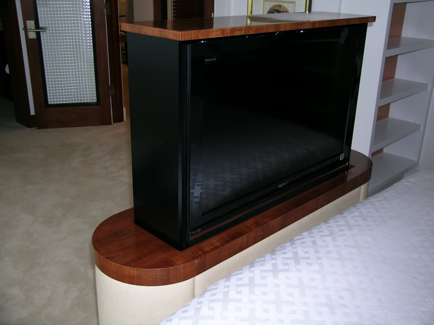 Wood Top TV Lift Cabinet
